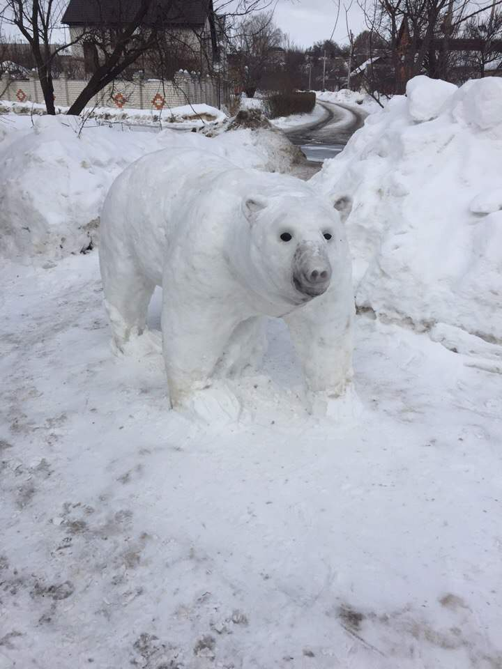 Харьковчане слепили из снега чудесные скульптуры (Фото)