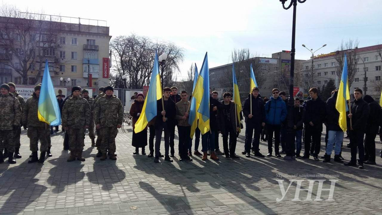 В Херсоне отметили День сопротивления Крыма митингом активистов (фото)