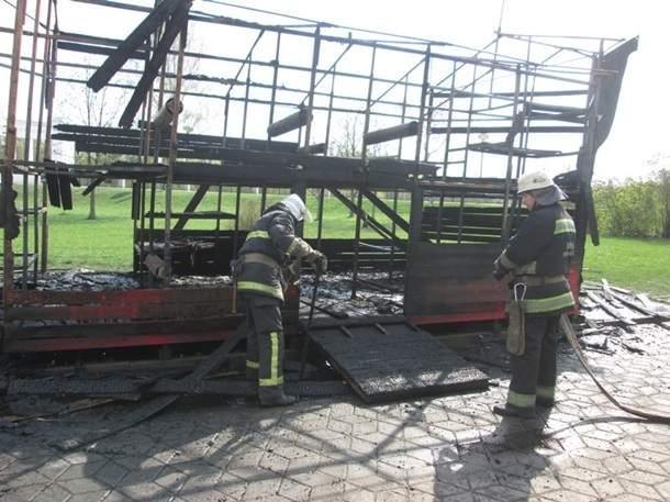 На Винничине на набережной Roshen занялись огнём батуты и детский аттракцион (фото, видео)