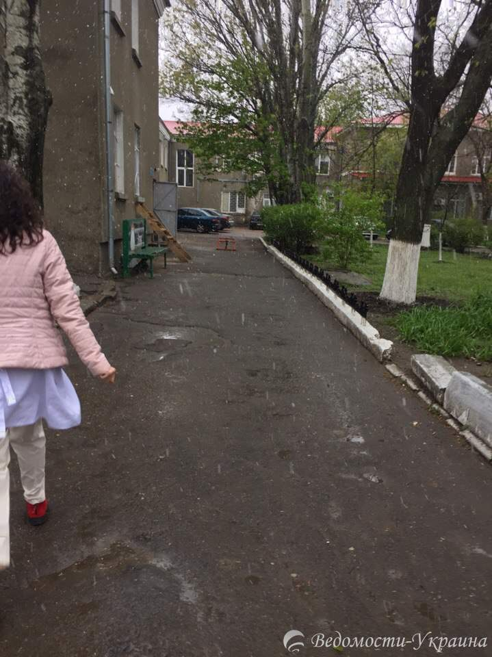 Фотофакт: В Одессе пошел мокрый снег