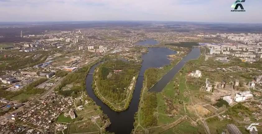 Журавлевский гидропарк на Харьковщине с высоты птичьего полёта (видео)