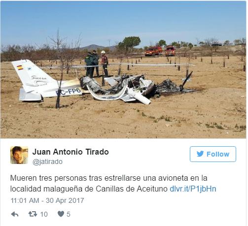 На юге Испании потерпел крушение небольшой самолёт: все погибли
