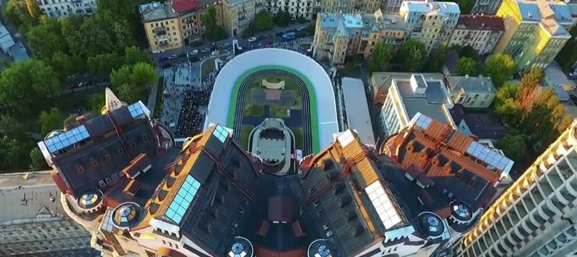 Киевский велотрек с высоты птичьего полёта (видео)