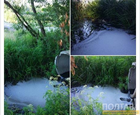 В Кременчуге из-за подземных стоков на реке образовалась пена (фото)