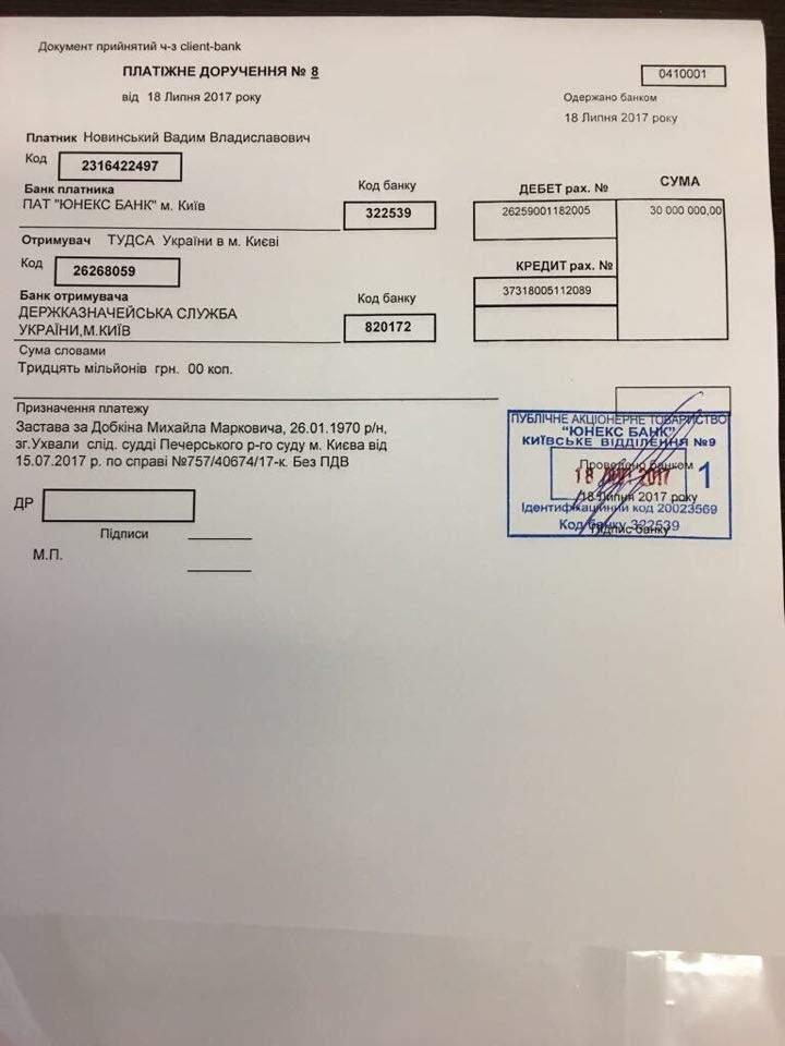 Однопартиец Добкина внес за него залог в размере 30 миллионов гривен