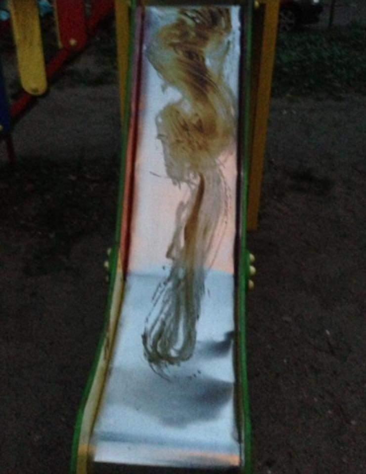 В одном из дворов Киева старики обмазали детскую площадку солидолом (Фото)