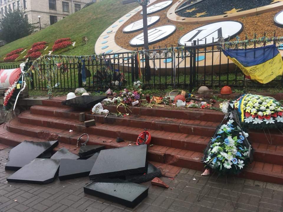 Известно, кто разбил памятную доску героям Небесной сотни в Киеве