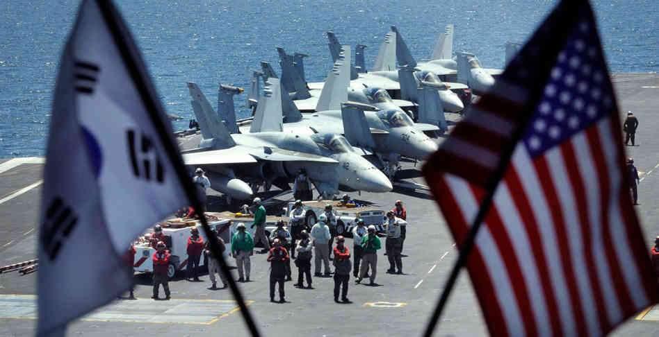 Авианосцы военно-морских сил США провели совместные учения с Южной Кореи вблизи берегов КНДР (видео)