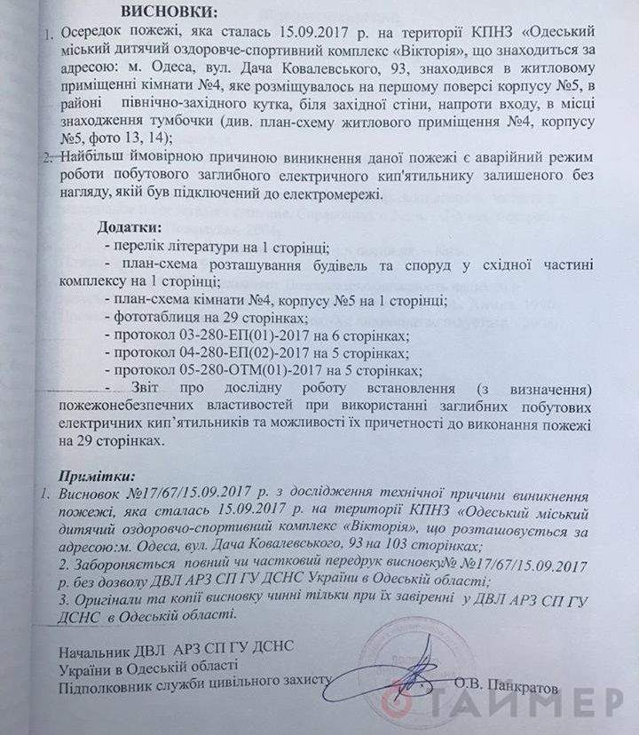 Названа вероятная причина пожара в одесском детском лагере «Виктория»