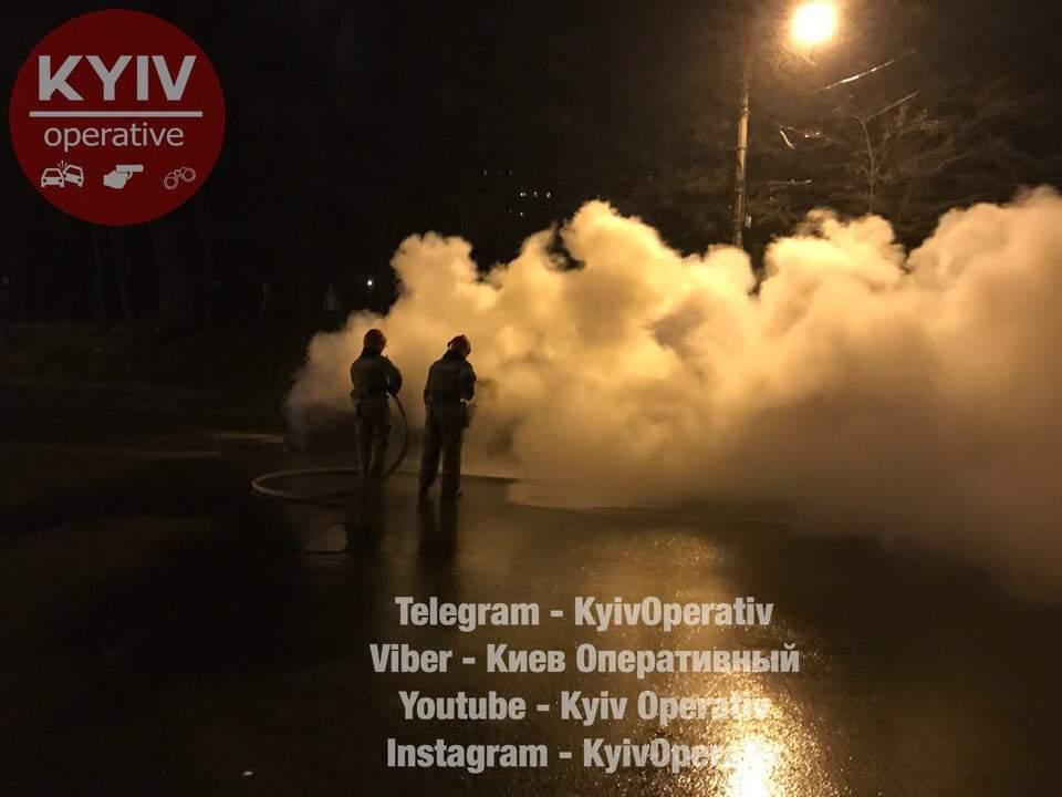 В Киеве за 30 секунд сгорел легковой автомобиль (фото)