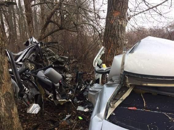 На Донбассе произошло смертельное ДТП: автомобиль влетел в дерево (фото)
