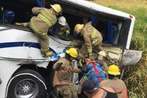 На западе Мексики пассажирский автобус протаранил поезд (фото)