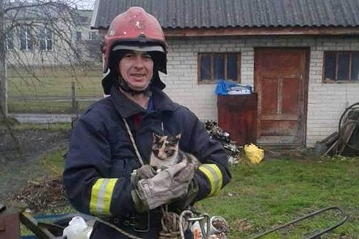 На Волыни бойцы ГСЧС спасли котенка (Фото)