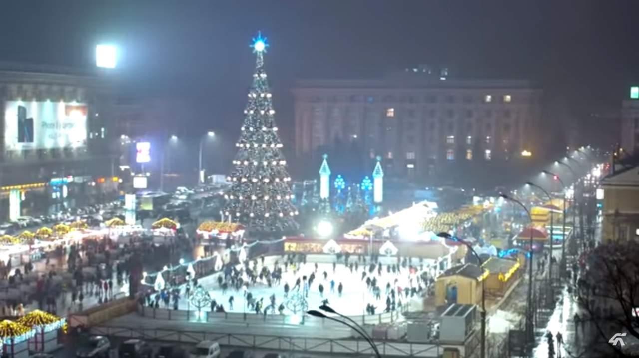 Новогодний Харьков  с высоты птичьего полета (ВИДЕО)