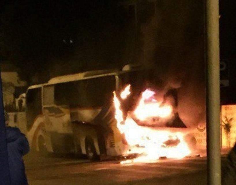 В Грузии вспыхнул пассажирский автобус следовавший из Азербайджана в Турцию