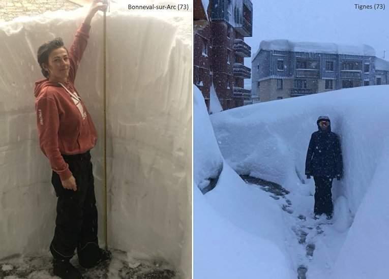 Французские Альпы покрылись двухметровым слоем снега (фото)