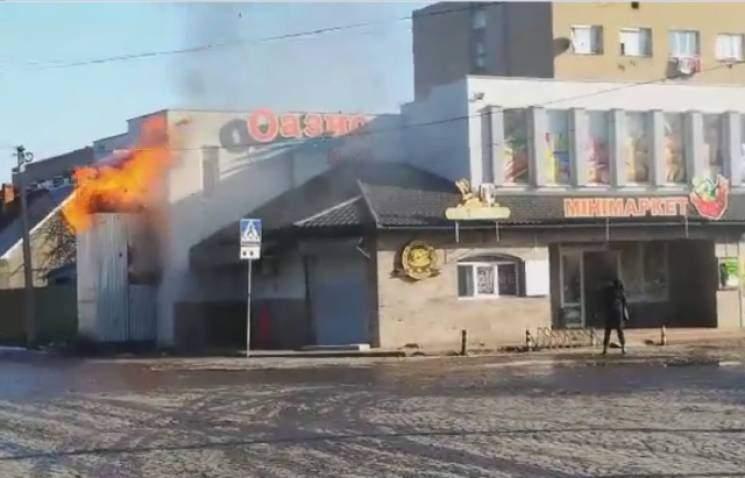 На Закарпатье в магазине вспыхнул пожар (видео)