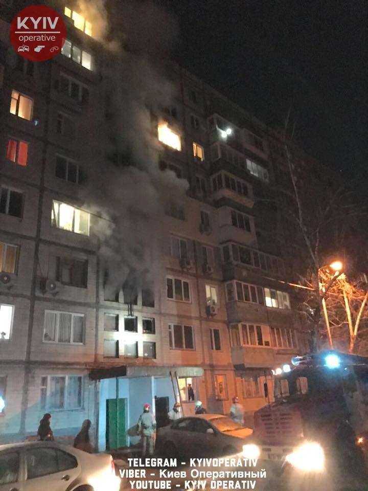 В Киеве ночью горела многоэтажка