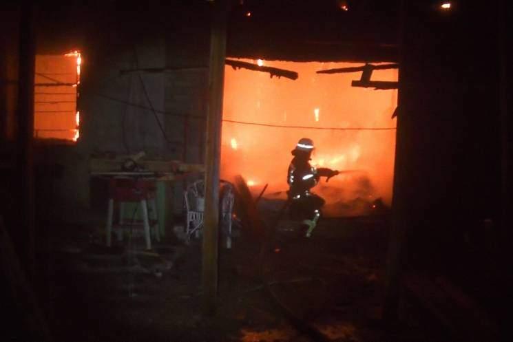 В Харьковской области на деревообрабатывающем цехе произошел пожар (видео)