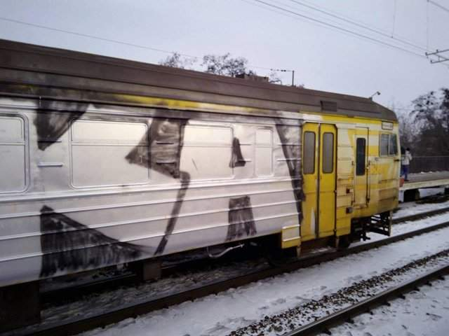В Киеве неизвестные вандалы разрисовали граффити городской электропоезд (фото)
