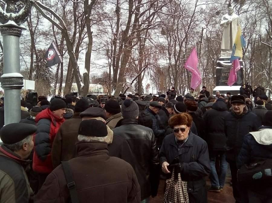 В Киеве  прошла акция протеста пенсионеров и ветеранов силовых структур