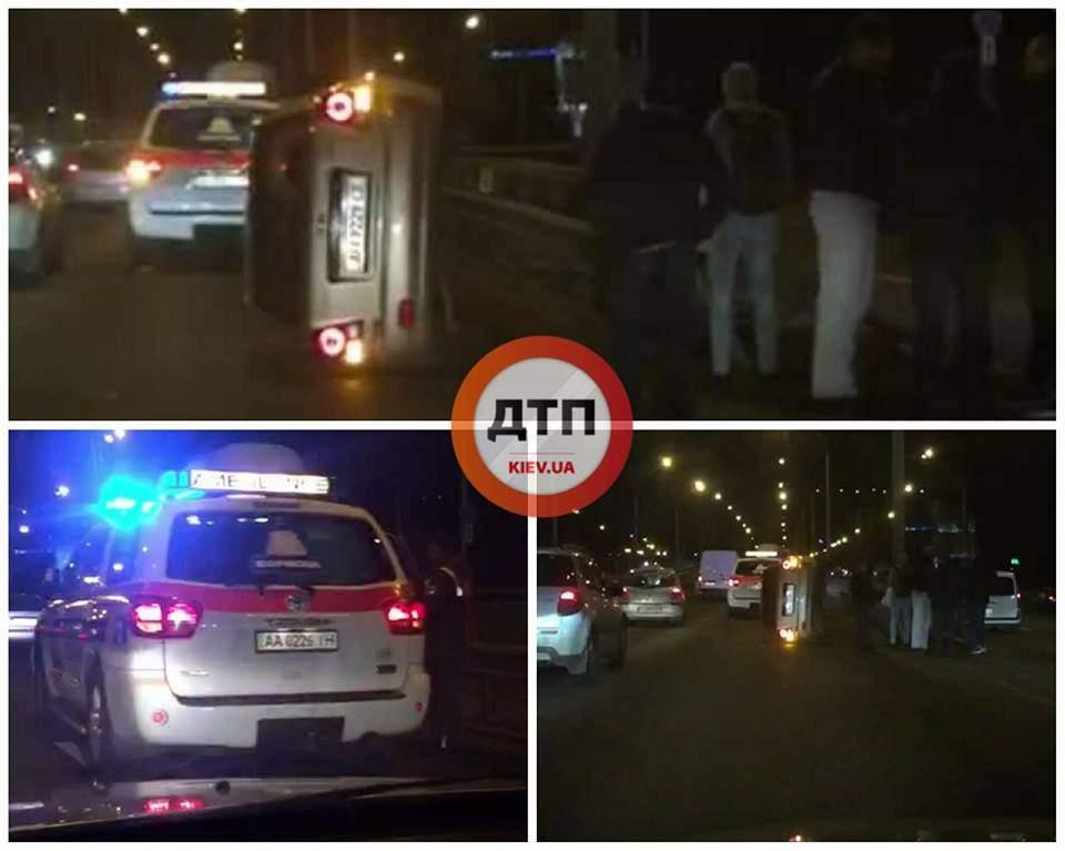 В Киеве  произошло ДТП с опрокидыванием и пострадавшими