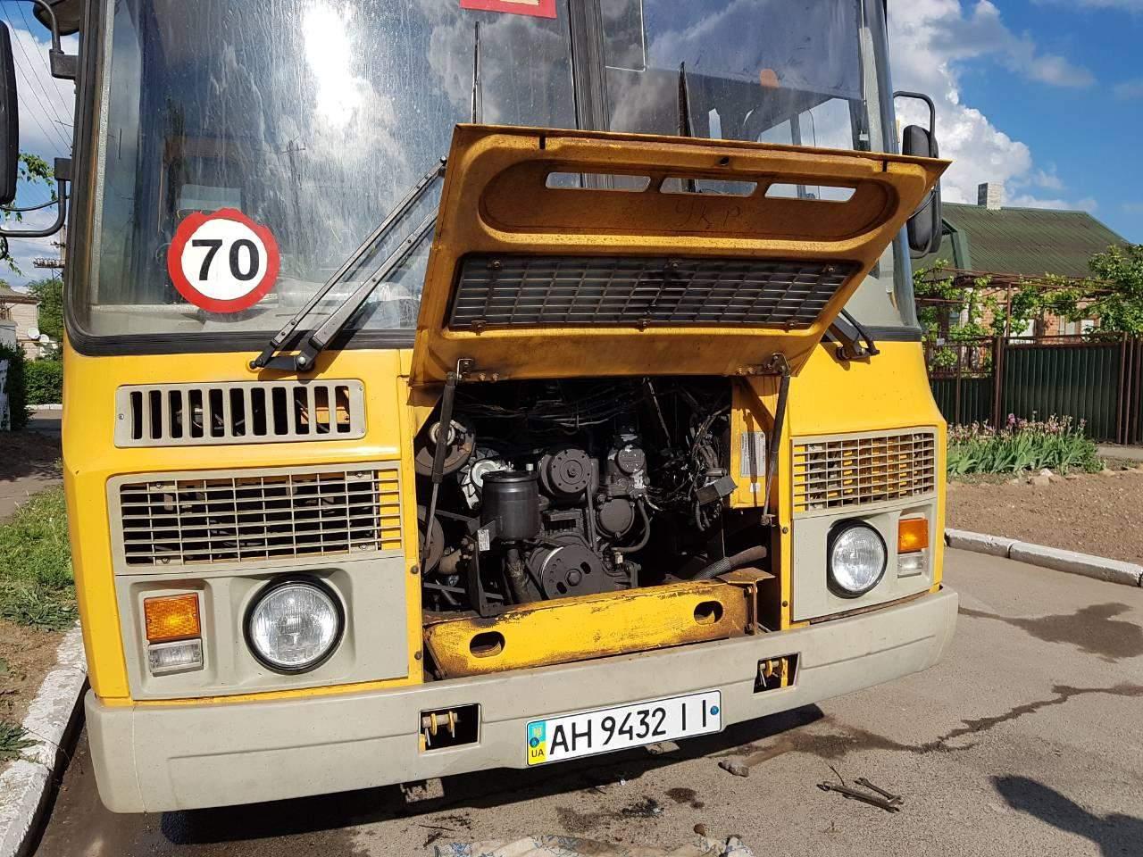 В Донецкой области во время движения загорелся автобус со школьниками (фото)
