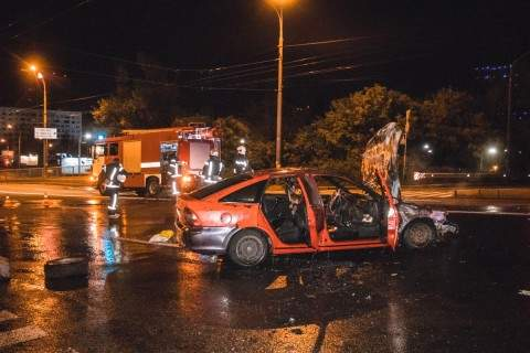 В столице произошло ДТП с участием автомобиля сотрудников полиции