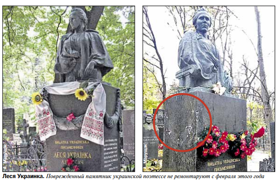 На Байковом кладбище в Киеве вандалы украли элементы надгробий (фото)