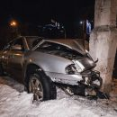 В Киеве такси службы Uber спровоцировал ДТП: другой автомобиль въехал в столб (видео)