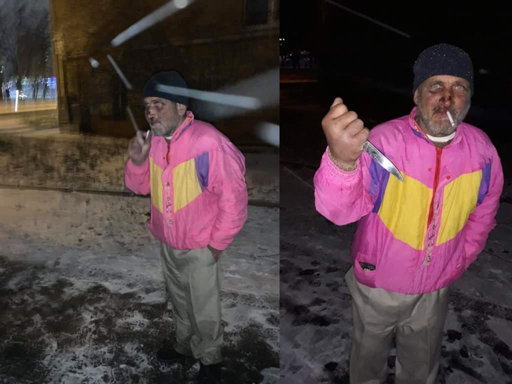 В Киеве возле КПИ на людей нападает неадекват с ножом (ФОТО)