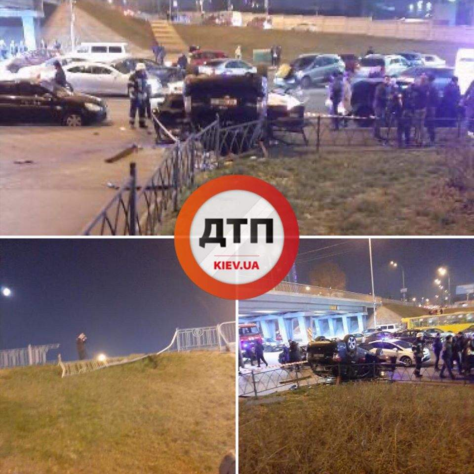 В Киеве с моста на тротуар рухнул автомобиль (ФОТО, ВИДЕО)