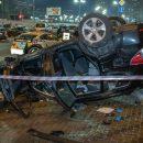 Появилось видео падения авто со столичного моста